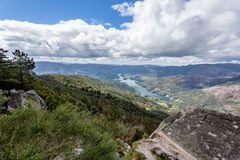 The viewpoint pedra bela in the Peneda Geres National Park, north of Portugal.  stock photography