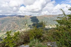 The viewpoint pedra bela in the Peneda Geres National Park, north of Portugal.  royalty free stock images