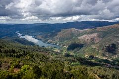 The viewpoint pedra bela in the Peneda Geres National Park, north of Portugal.  royalty free stock photos