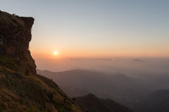 Viewpoint of Phu Chi Fah mountain in Chiangrai province of Thail Royalty Free Stock Photography