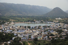 Viewpoint of Pushkar, Rajasthan, India. Taken from the viewpoint of Pushkar, Rajasthan, India. The lake is a sacred lake and is surrounded by temples Stock Photography