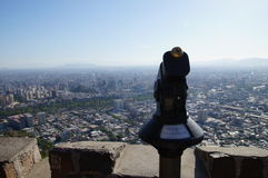 Viewpoint at San Cristobal Hill. The beautiful Santiago city from the San Cristobal Hilltop, Chile Stock Photos