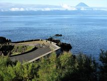 Viewpoint on Sao Jorge island looking over to Pico volcano, The Azores Royalty Free Stock Photos