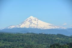 Mt. Hood from Jonsrud Point, Oregon Image 2. This viewpoint showcases a 180-degree view of Mt. Hood with a large meadow below it, the Sandy River 400 feet below Royalty Free Stock Image