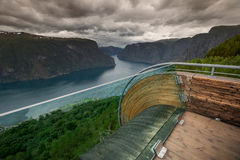 Viewpoint Snovegen at Aurlands fjord Royalty Free Stock Photo