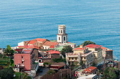 Viewpoint on the Sorrento coast. Group of houses with sea views stock photography