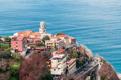 Viewpoint on the Sorrento coast. Group of houses with sea views stock images
