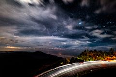 Viewpoint of the stars on the high peaks of Thailand royalty free stock images