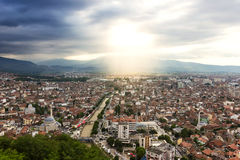 Viewpoint to the city of prizren, kosovo. With sunlight royalty free stock image