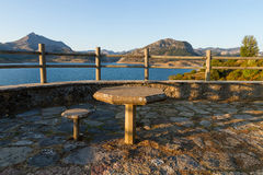 Viewpoint to a Reservoir with stone Table and Chair Royalty Free Stock Photo