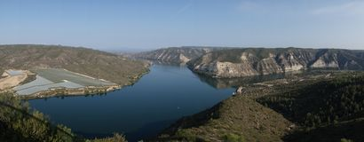 Viewpoint to the river ebro. In Fayon, Zaragoza, Spain royalty free stock photos