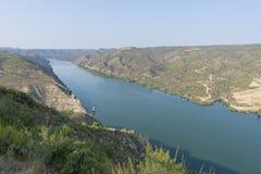 Viewpoint to the river ebro. In Fayon, Zaragoza, Spain stock photography