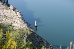 Viewpoint to the river ebro. In Fayon, Zaragoza, Spain stock image