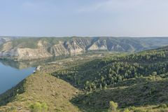 Viewpoint to the river ebro. In Fayon, Zaragoza, Spain royalty free stock image