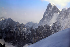 A viewpoint on top of Aiguille du Midi mountain in Chamonix, France Royalty Free Stock Images