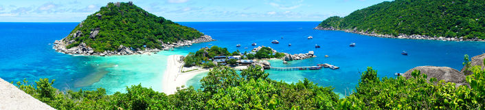 At the viewpoint top of Koh Nang Yuan, panorama Stock Image