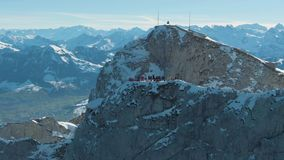 Viewpoint with Tourists on Mountain Pilatus. Switzerland. Aerial View. Viewpoint with Tourists on Top of Mountain Pilatus. Swiss Alps, Switzerland. Aerial View stock video footage