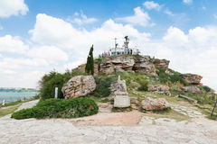 Viewpoint with tourists on the tip of Kaliakra Royalty Free Stock Photo
