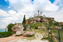Viewpoint with tourists on the tip of Kaliakra Royalty Free Stock Photography