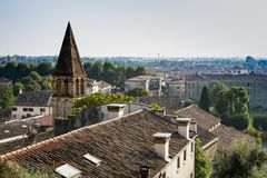 Viewpoint, tower of Church San Stefano, trees, Monselice, Italy stock image
