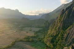 Viewpoint in Vang Vieng, Laos. Hiking to the top of the mountains surrounding the city and escape the masses of tourists stock image