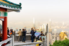 Viewpoint of the Victoria Peak in Hong Kong Stock Photo