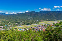 Viewpoint at  Wat Phra That Doi Gongmoo with view of Maehongson Stock Photo