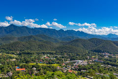 Viewpoint at  Wat Phra That Doi Gongmoo with view of Maehongson Royalty Free Stock Images