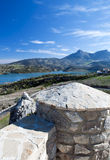 Viewpoint of zahara. Lake located in the town of Zahara de la Sierra in the Spanish province of Cadiz, is the coast and mountain scenery in the background, image Royalty Free Stock Photography