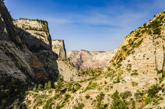 Viewpoint of Zion National Park from Observation point trail Royalty Free Stock Photos