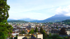 Viewpoints from historical castle in Lucerne Stock Image