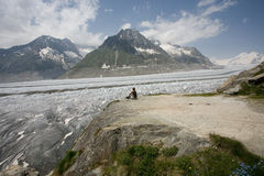 Views of the Aletsch Glacier. Aletsch Glacier in summer. Valais, Switzerland royalty free stock photos