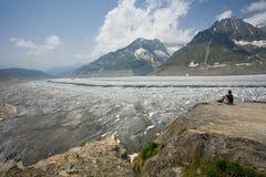 Views of the Aletsch Glacier. Aletsch Glacier in summer. Valais, Switzerland royalty free stock photography
