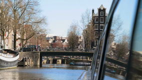 Views of Amsterdam from a tourist ship stock video footage