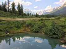 Views around the Ink Pots in Johnston Canyon, Banff National Park, Canadian Rockies, Canada, Alberta Stock Photo