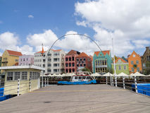 Views around Punda - floating bridge. Punda the capital city  on Curacao a Caribbean Island in the Dutch Antilles Stock Photos