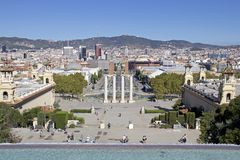 Views of Barcelona with Plaça d`Espanya and the Magic Fountain of Montjuïc Royalty Free Stock Images
