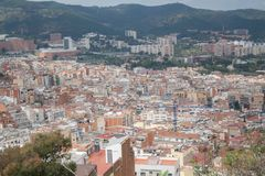 views of Barcelona from the top royalty free stock photo