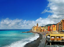 Views on Beach of the resort town Camogli from above Royalty Free Stock Photo