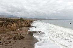 Views of the beach of San Simeon, California, USA royalty free stock images