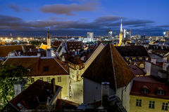 Views of the beautiful evening panorama of old Tallinn in  light Royalty Free Stock Image