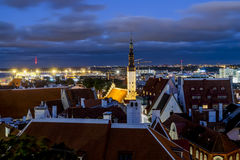 Views of the beautiful evening panorama of old Tallinn in  light Royalty Free Stock Photography