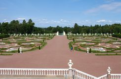 Views on beauty Royal garden from the balcony of the palace Stock Images