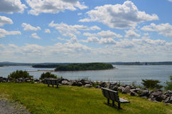 Views of Boston Harbor from Spectacle Island Benches Royalty Free Stock Images