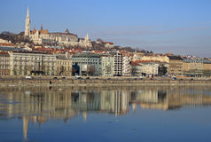 Views of the Buda side of Budapest sunny day. BUDAPEST, HUNGARY Royalty Free Stock Photo
