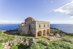 Church of Panagia Odigitria in Byzantine town of Monemvasia, Greece, 04 JAN 2018. Views of Byzantine town of Monemvasia, Greece stock photo