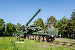 Views of cannon and the rail Transporter at Fort Krasnaya Gorka Royalty Free Stock Photography