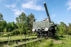 Views of cannon and the rail Transporter at Fort Krasnaya Gorka Stock Image