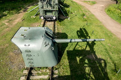 Views of cannon and the rail Transporter at Fort Krasnaya Gorka Stock Photography