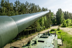 Views of cannon and the rail Transporter at Fort Krasnaya Gorka Royalty Free Stock Images